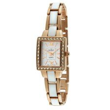 <strong>Peugeot</strong> Women's Square Link Bracelet Watch in Rose Gold and White Enamel