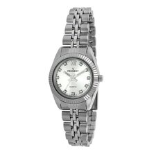 Women's Crystal Marker Ribbed Bezel Bracelet Watch in Silver Tone