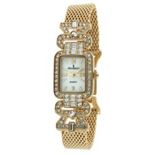 Crystal Bezel Mesh Bracelet Watch in Gold Tone