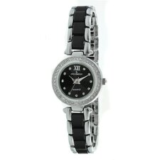 Crystal Accented Round Silver-Tone Acrylic Link Watch