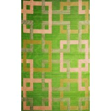 Squares Green/Beige Indoor/Outdoor Area Rug