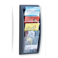 Letter Quick Fit Systems Literature Display with Four pockets in Charcoal