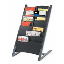 Seven Compartment Floor Literature Display in Charcoal