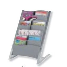 Seven Compartment Floor Literature Display in Silver