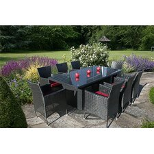 <strong>Bridgman</strong> Lincoln Rectangular Dining Table with 8 Lincoln Dining Armchair in Black