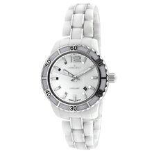 Women's Ceramic Sport Bezel Dial Watch in White