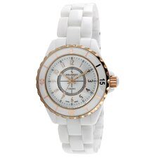Women's Sport Bezel Rose - Gold Accent Watch in White