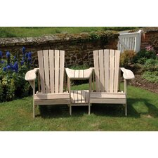 Classic Double Adirondack Chair in Colonial White Wash