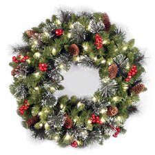 "Crestwood Spruce Pre-Lit 24"" Wreath with Clear Lights"