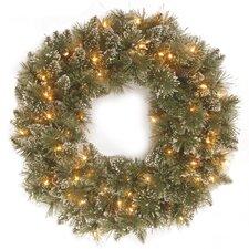 """Glittery Bristle Pine Pre-Lit 30"""" Wreath"""