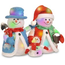 Pre-Lit Cotton Snowman Family