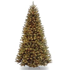 North Valley 7.5' Green Spruce Artificial Christmas Tree with Clear Lights with Stand