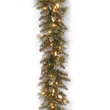 "Glittery Bristle Pine Pre-Lit 9' x 10"" Garland"