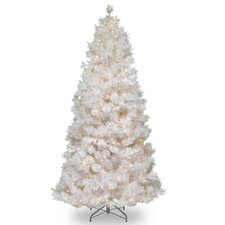 Wispy Willow 7.5' White Grande Slim Artificial Christmas Tree with 500 Pre-Lit Clear Lights with Stand