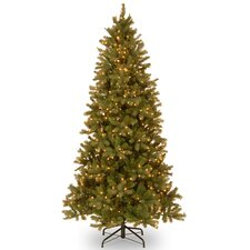 Douglas Fir 7.5' Green Downswept Slim Fir Artificial Christmas Tree with 600 Pre-Lit Clear Lights with Stand