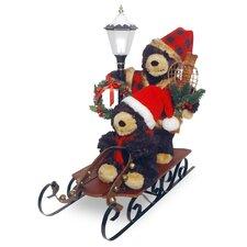 Plush Sleigh with Bears and Lantern