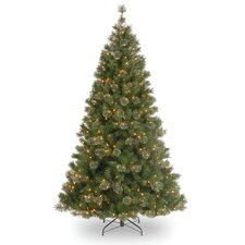 <strong>National Tree Co.</strong> Atlanta Spruce 7.5' Green Artificial Christmas Tree with 550 Pre-Lit Clear Lights with Stand