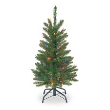 3' Green Pencil Kingswood Fir Artificial Christmas Tree with Multi-Colored Lights with Stand