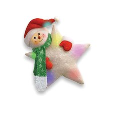 Pre-Lit Cotton Star with Snowman