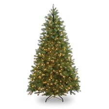 Pre-lit 7' Spruce Artificial Christmas Tree with 600 Clear Lights and Stand