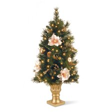 Decorated 3' Green Artificial Christmas Tree with 50 Pre-Lit Clear Lights with Urn Base