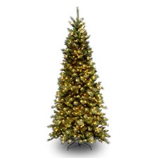Tiffany Fir 7.5' Green Slim Artificial Christmas Tree with 500 Pre-Lit Clear Lights with Stand