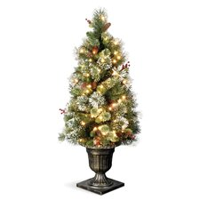 Wintry Pine Entrance 4' Green Artificial Christmas Tree with 50 Pre-Lit Clear Lights with Urn Base