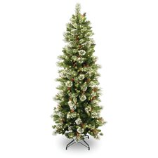 "Wintry Pine 7' 6"" Green Slim Artificial Christmas Tree with 400 Pre-Lit Clear Lights with Stand"