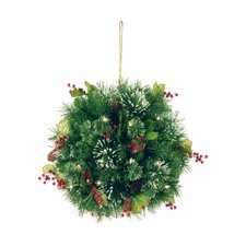 "<strong>National Tree Co.</strong> Wintry Pine Pre-Lit 16"" Kissing Ball"