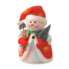 Pre-Lit Cotton Snowman with Tree