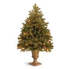 "Noble Deluxe Fir Pre-Lit 3' 4"" Green Fir Artificial Christmas Tree with 100 LED White Lights with Urn Base"