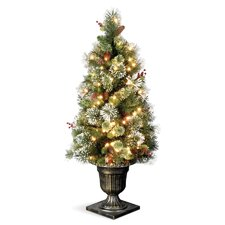 Wintry Pine Entrance 5' Green Artificial Christmas Tree with 100 Pre-Lit Clear Lights with Urn Base