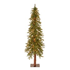 6' Green Hickory Cedar Artificial Christmas Tree with Pre-Lit Lights