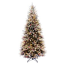 Dunhill Fir Pre-Lit 7.5' Slim Artificial Christmas Tree with 600 Pre-Lit Snow Lights with Stand