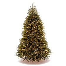 Dunhill Fir 7.5' Green Hinged Artificial Christmas Tree with 750 LED Lights - Dual-Color Lights