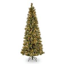Glittery Bristle Pine 7.5' Green Slim Artificial Christmas Tree with 600 Soft White LED Lights with Stand