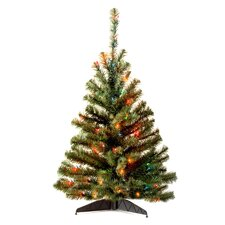 Kincaid Spruce 4' Green Artificial Christmas Tree with Multi-Colored Lights with Stand