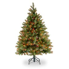 Douglas Fir Downswept 4.5' Green Artificial Christmas Tree with 450 Pre-Lit Multi-Colored Lights with Stand