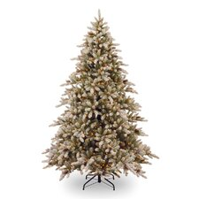 7.5' Snowy Concolor Fir Artificial Christmas Tree with 800 Pre-Lit Clear Lights with Stand