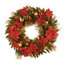 "<strong>National Tree Co.</strong> Pre-Lit 36"" Home Spun Wreath"