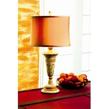 "Fossil and Caramel 32"" Table Lamp with Empire Shade"