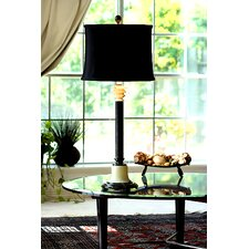 "Zebra Marble and Chartreuse 33"" Table Lamp with Empire Shade"