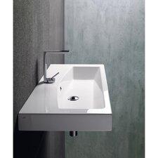 Losagna Modern Rectangular Ceramic Wall Mounted Vessel or Self Rimming Bathroom Sink
