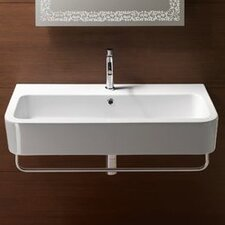Traccia Contemporary Design Curved Ceramic Wall Mounted or Vessel Bathroom Sink