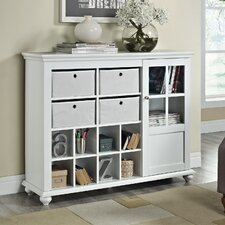 Reese Park Storage Cabinet with 4 Fabric Bins Glass Door