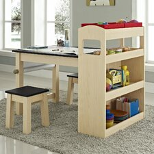 Kids 3 Piece Rectangular Activity Table and Stool Set