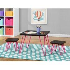 Retro Style Kids 3 Piece Square Table & Stool Set