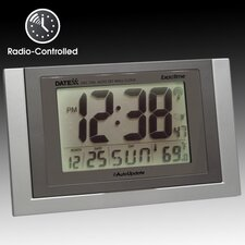 Radio Control Wall Clock with Calendar, Temperature