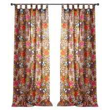 Bohemian Bouquet Cotton Tab Top Window Curtain Single Panel (Set of 2)