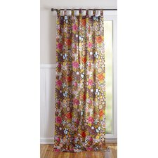 Bohemian Bouquet Cotton Tab Top Window Curtain Single Panel